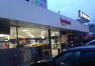 Most gas stations have their convenience stores. Often include a Chemist, atms and restaurant(s).